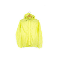 NIKE cyclone vapor running jacket - transparent - yellow neon polkadot - hoodie windbreaker - womens medium