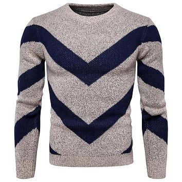 Fashion Casual Men Sweater O-Neck Striped Slim Fit Knitting Men Sweaters Pullovers Men Polo Sweater
