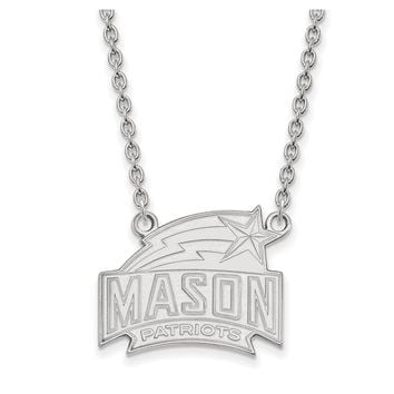 NCAA Sterling Silver George Mason U Large Pendant Necklace
