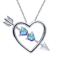 1.12 Ct Mercury Mist Mystic Topaz 925 Sterling Silver Heart and Arrow Pendant