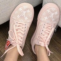 Vans x Supreme x LV Old Skool Trending Women Men Stylish Flats Sneakers Sport Shoes Pink I/A