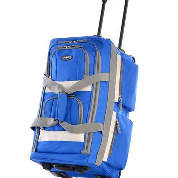 "Olympia 26""8 Pocket Sports Travel Rolling Duffel Carry-On Luggage Royal Blue"