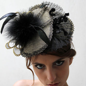 Kentucky Derby Gold and black Fascinator hat, Royal ascot hat, Haute Couture Hat, Melbourne cup fascinator hat with feathers, Wedding hat