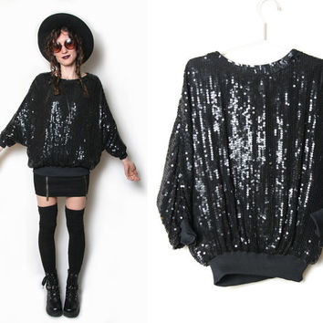 Black Sequin Top - Long Sleeve - Crewneck - Sequin Shirt - 80s 1980s - Batwing - Silk Sequined Shirt - Size Medium - Grunge Goth