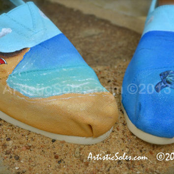 Custom TOMS Shoes  - Beach Love
