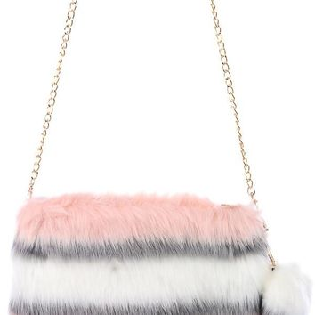 Pink Grey And White Clutch