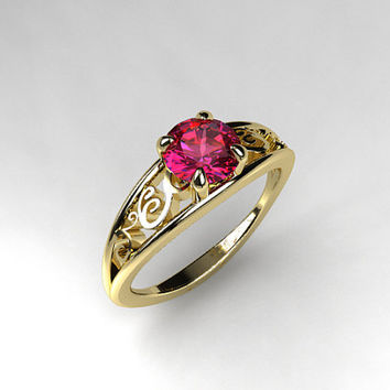 Pink tourmaline engagement ring, filigree, solitaire, white gold, yellow gold, wedding ring, tourmaline engagement, pink, unique
