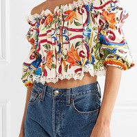 Dolce & Gabbana - Maiolica off-the-shoulder printed cotton-blend poplin top
