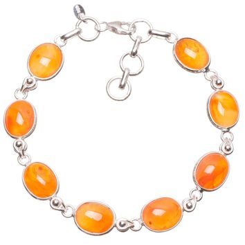 """Natural Carnelian Handmade Mexican 925 Sterling Silver Bracelet 6 3/4-7 1/2"""" S2111"""
