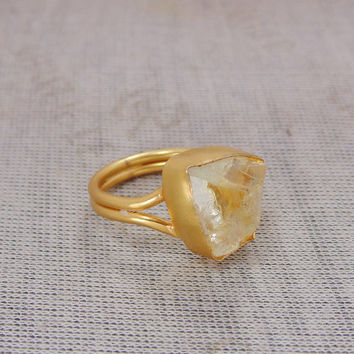 Rough Citrine Ring - November Birthstone Ring - Stacking Ring - Fashion Ring - Gold Plated Ring - Bezel Set Ring - Women Wedding Gift