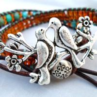 Bird Branch Brown and Turquoise Leather Wrap Bracelet