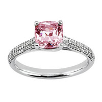 Pink cushion halo center diamond 1.81 carats anniversary ring white gold 14K