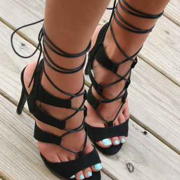 Midnight Memories Black Strappy Lace Up Heels