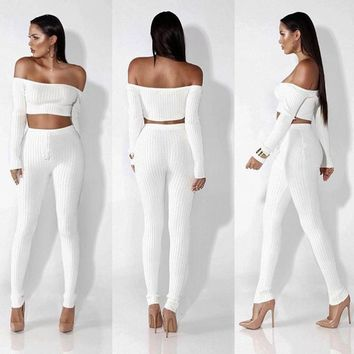 Women Fashion Solid Color Long Sleeve Strapless Off Shoulder Crop Tops High Waist Tights Trousers Set Two-Piece