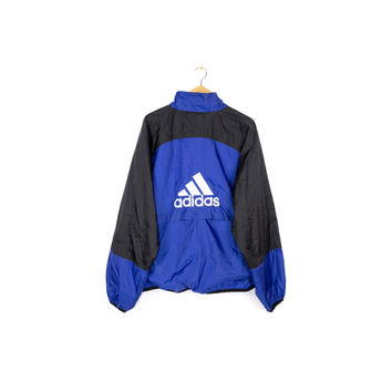 90s ADIDAS windbreaker jacket - vintage 1990s - big embroidered 3 stripes logo - mens L - XL