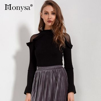 Woman Sweater Pullovers Long Sleeve Autumn Mesh Patchwork Ruffle Knitted Sweaters Ladies Fashion Sweetwear Sweater Black