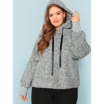 Plus Heather Grey Hoodie