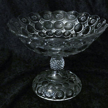 Antique Compote Adams Palace Glass Moon and Star Circa 1888 Victorian Era Wedding Bridal Shower Centerpiece Holiday Festive Party Elegant