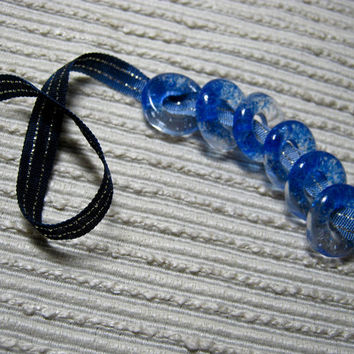 MADE to ORDER Handmade Translucent Fused Glass Beads / Set of 6 / Blue Clear Blend / For Your Handcrafted Jewelry Designs