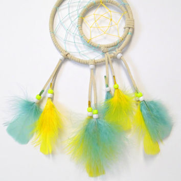 White suede Moon and Star dream catcher - Blue Moon Yellow Star