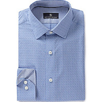 Hart Schaffner Marx Long-Sleeve Dobby-Print Woven Shirt - French Blue