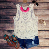VINTAGE ROMANCE TANK IN IVORY – LaRue Chic Boutique