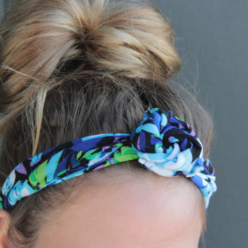 Tropical Summer Floral Print Twist Head Scarf Dolly Bow Wire Headband Bun Wrap