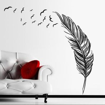 Wall Sticker Vinyl Birds Flying Feather Decal Mural