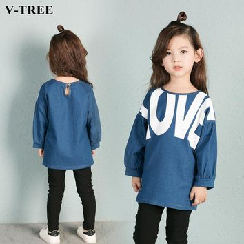 V-TREE Girls T Shirt T-shirt For Teenage Girl Toddler Denim Shirts Kids Jean Blouse Children Tops Teen Clothing Baby Clothes