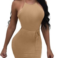 Candy Color Spaghetti Straps Backless Cross Short Club Dress