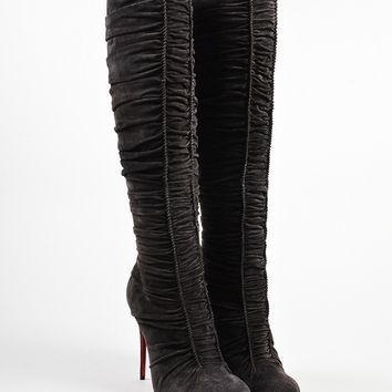 KUYOU Brown Suede Ruched Christian Louboutin  Vivazdine 100  Knee Boots