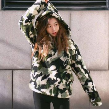 Champion Fashion Lambswool Camouflage Cardigan Jacket Coat