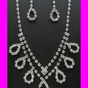 Bling Clear Crystal Loop Double Silver Tone Bridesmaid Bridal Necklace Earring