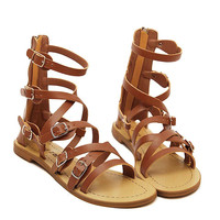 Brown Multi Buckle Ankle Gladiator Sandals