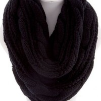 Soft Cable Knit Infinity Scarf in Black or Cream