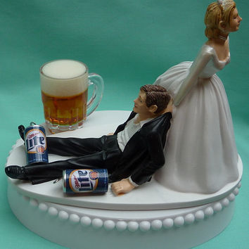 Wedding Cake Topper Miller Lite Beer Drinking Mug Cans Drinker Groom Themed
