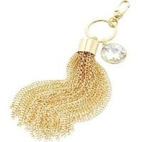 [ETC]-Goldtone Tassel with Crystal Gem Keychain
