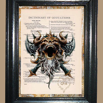 Warrior Viking Skull - Vintage Dictionary Page Book Art Print Unique Upcycled Page Art Collage Art Skull Print