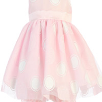 Glitter Polka Dots on Tulle Overlay Pink Satin Spring Dress with Satin Bloomers (Baby Girls)
