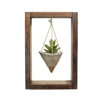 Air Planter, Wall Planter, Succulent Planter, Concrete Planter, Modern Planter, Gold Planter, Air Plant Holder, Wood Planter, Shadow Box