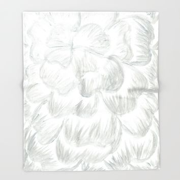 Silvery/Gray Flower Throw Blanket by Lindsay