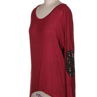 Sequin Elbow Patch Tunic - Burgundy-