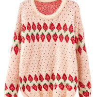Women Strawberry Pattern Fluffy Loose Pullover Sweater