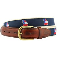 GA Traditional Leather Tab Belt in Navy Ribbon with White Canvas Backing by State Traditions