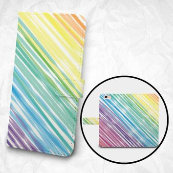 iPhone 7 case 7 Plus case, Samsung Galaxy S6 case, Edge case Note 5 4 3 2 PU leather flip cover Book Phone case Wallet case - Rainbow Paint