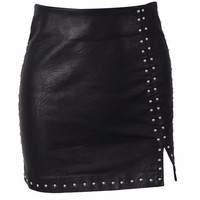 Studded Leather Slit Mini Skirt