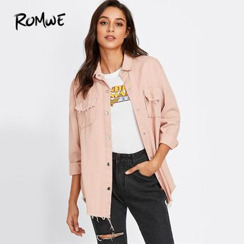 Sweet Pink Denim Jacket Frayed Curved Hem Women Casual Long Sleeve Coat Fall Fashion Button Up Pockets Lapel Jacket