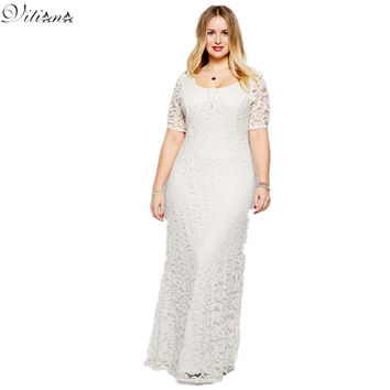 Womens vestidos Plus Size 6XL 7XL 8XL 9XL Party Dress 2016 Fashion Big Sizes Sexy Backless White Black Lace Maxi Long Dresses