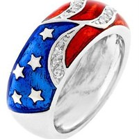 White Gold Rhodium CZ American Flag Band Ring - Fashion Jewelry: Necklaces, Earrings, Bracelets & Rings - Modnique.com