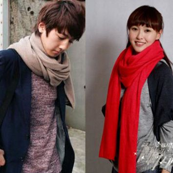 LMF9GW New arrival thicken super long Women fashion scarves Men knitted solid color warm wraps Unisex scarf for winter WJ002